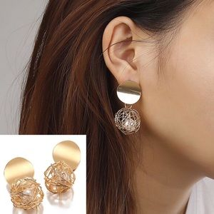 Golden Round Geometric Ball Earrings with Pearl